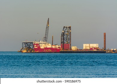 Dammam, Saudi Arabia, January 9th, 2017,  Offshore petroleum platform operated by Chinese company at the sea of Dammam, Saudi Arabia