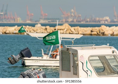 Dammam, Saudi Arabia, January 9th, 2017, Fishing boat floating at the sea at the corniche park, Dammam, Saudi Arabia