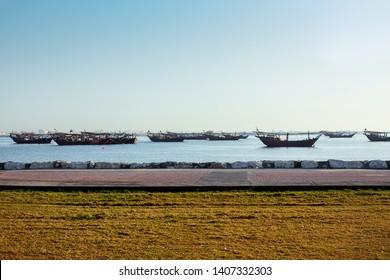 Dammam Sea with boat in morning view-Saudi Arabia