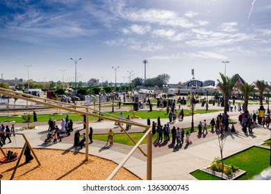 Dammam,Eastern Provence, Saudi Arabia 03/29/2019: lots of people are gathering at a public park organized by Saudi Arabia Government  in Dammam