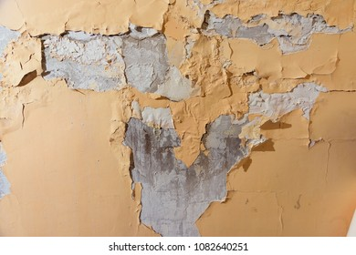 The dampness on the wall. The destruction of the wall from behind the water. Cracks on the lining