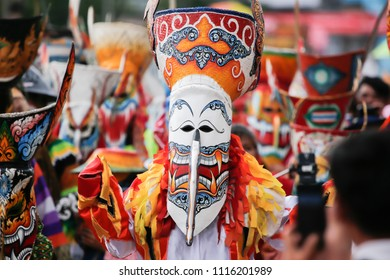 Dan Sai,LOEI, Thailand, 18 JUN 2018:Phi Ta Khon Traditional Tradition, Dan Sai District, Loei Province Drawing on the mask is a local wisdom of Thailand. There are tourists around the world.