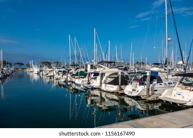 Dana Point, CA / USA - June 20 2018: View of yachts docked in Dana Point harbor on a summer morning