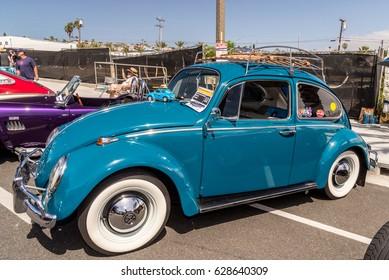 Dana Point, California - April 23, 2017. Dana Point Lantern District Classic Car & Motorcycle Show. 1965 Volkswagon Beetle.