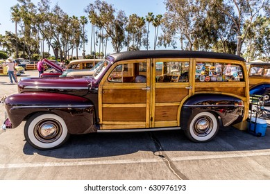 Dana Point, California - April 29, 2017. Woodie Club and Car Show. Ford Delux.