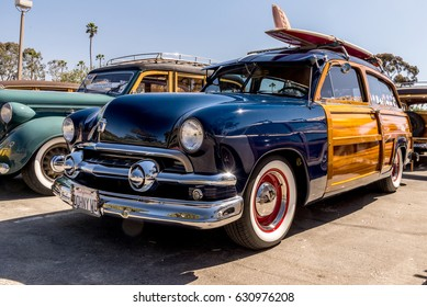 Dana Point, California - April 29, 2017. Woodie Club and Car Show. 1951 Ford SN