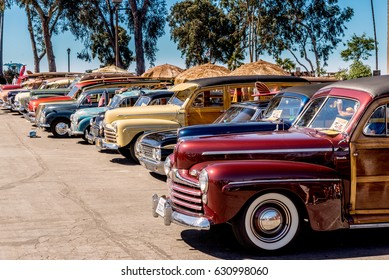 Dana Point, California - April 29, 2017. Woodie Club and Car Show. Row of vintage woodies.
