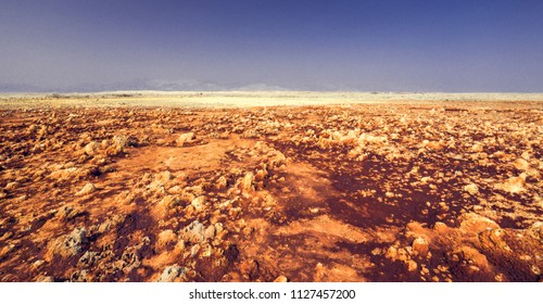 Danakil Depression in Ethiopia, Afar region, Africa - the hottest and lowest point on Earth.