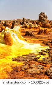 in  danakil ethiopia africa  the volcanic depression  of dallol lake and acid sulfer like in mars