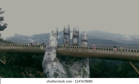 Danang - Ba Na hills - Vietnam :: 07/11/2018 :: Landscape view of Golden Bridge.