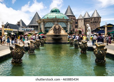 DANANG, VIETNAM - AUGUST 7, 2016:Ba Na Hills Mountain Resort, the multi-level complex filled with amusement rides, attractions, restaurants, roller skating...