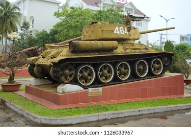 DANANG, VIETNAM - JANUARY 05, 2016: Soviet tank T-34-85 in the exposition of the museum of the 5th militarized zone
