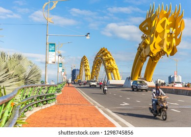 DANANG, VIETNAM - JANUARY 05, 2019: Dragon bridge with cars at daytime in Danang, Vietnam