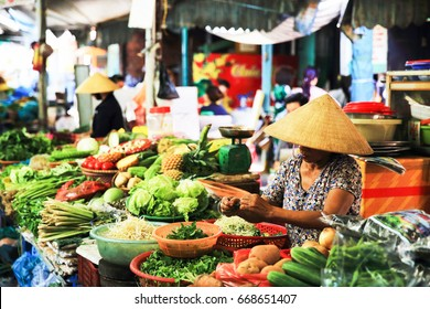 DANANG, VIETNAM - July 12, 2016 : Fresh fruit and vegetables at a local market stall in Hoi An , Vietnam.