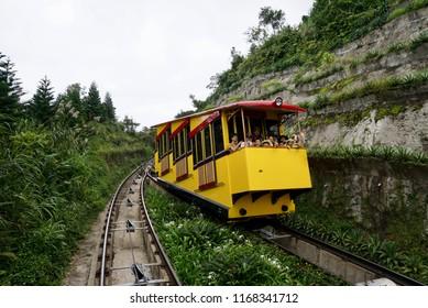 Danang , Vietnam - July 29,2018 : Beautiful scene view on train during travel to Mercure Danang French Village Bana Hills.