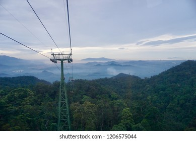Danang , Vietnam - July 29,2018 : Beautiful scene view on cable car during travel to Mercure Danang French Village Bana Hills.