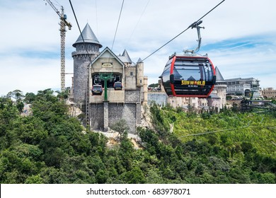 Danang, Vietnam - June 21, 2017: View of Ba Na Hills Mountain Resort with The longest non-stop single track cable car is 5,801 m (19.032 ft) in Ba Na Hills, Da Nang City, Vietnam