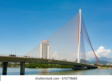 Danang Vietnam June 28 2017 Cable-stayed bridge and Dragon River Bridge ( Rong Bridge) in Da Nang city, is symbol of Danang city, Vietnam