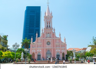 Danang, Vietnam - Mar. 27, 2019 : Da Nang Cathedral in central Vietnam also known as the Pink church or Rooster church. The church was designed with Gothic styles in the French colonial period in 1923