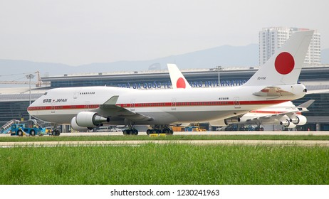 Danang, Vietnam Nov 12, 2017: Japaese Air Force Boeing 747-47C [20-1102] and  another 747-47C [20-1101], they brought Japanese Prime minister Shinzo Abe to APEC 2017.