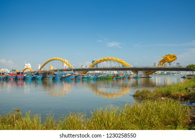 Danang, Vietnam Sep 14th 2018: Dragon bridge through Han river in Da Nang city.