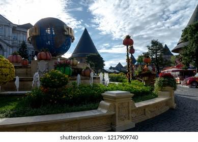 Danang, Vietnam - Sep 21, 2018: Ba Na Hill in Danang, Vietnam. Ba Na Hill mountain resort is a favorite destination for tourists.