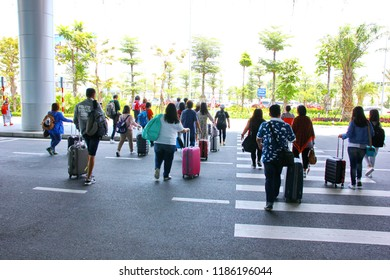 DANANG,VIETNAM-4 APRIL ;2018:The  foreigner tourist visit VIETNAM at DANANG  Internatinal  Airport