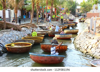 DANANG,VIETNAM-6 APRIL;2018: The tourists enjoy in bamboo basket boat one of sixgnature of Vietnam