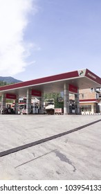 DANAU TOBA,INDONESIA-MAY 27:PERTAMINA petrol station in Danau Toba,Indonesia on May 27,2012. PERTAMINA is based in Jakarta and the world's largest producer and exporter of Liquefied Natural Gas (LNG)