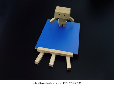 Danbo. A cute danbo board with notes board blue,background black.