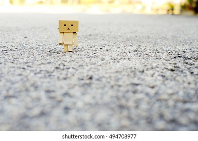 Danbo. A Lonely danbo walking on the road.