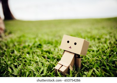 Danbo toy figure on grass