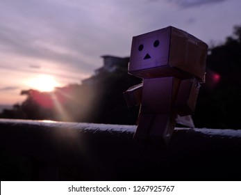Danbo toy and sunrise light.