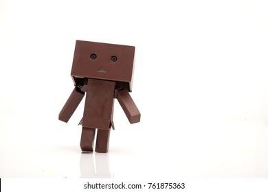 Danbo Toy Walking alone In white background