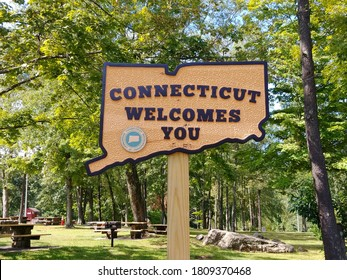 Danbury, CT - September 4 2020: A Connecticut Welcomes You sign at the Danbury rest area