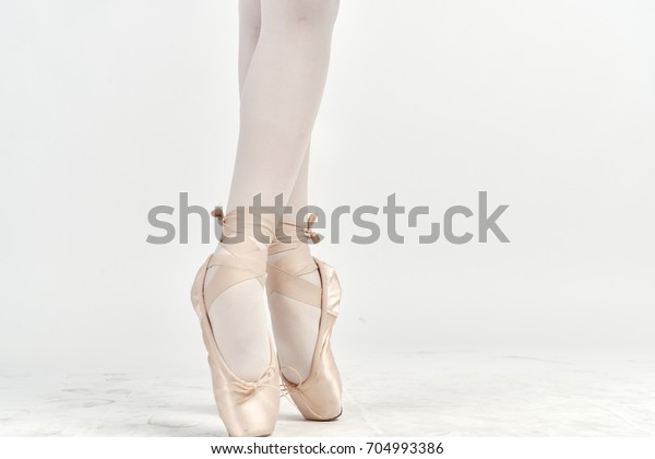 Dance Ballet White Pointe Shoes On