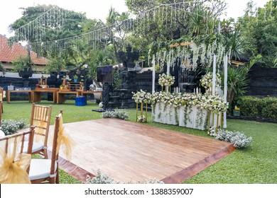 Dance Floor for outdoor wedding. Beautiful festive set up
