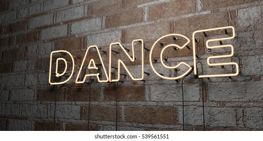 DANCE - Glowing Neon Sign on stonework wall - 3D rendered royalty free stock illustration.  Can be used for online banner ads and direct mailers.