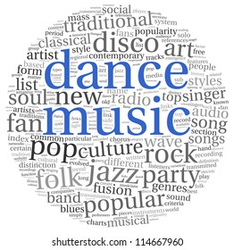 Dance music concept in word tag cloud on white
