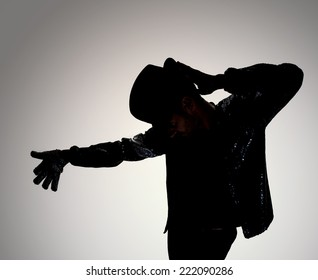 dancer in action. billie jean style with glove,hat,and jacket