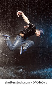 Dancer in aqua studio in motion