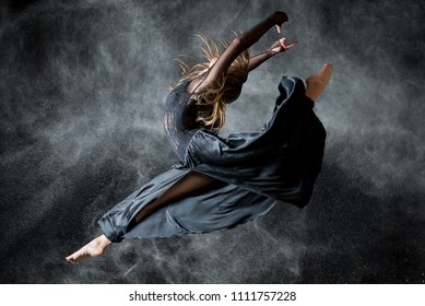 Dancer in the black background