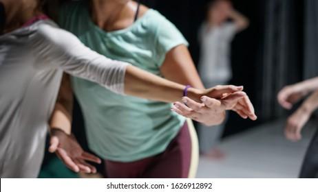 dancer hand, contact improvisation, detail