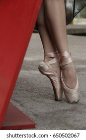 Dancer legs with ballet shoes