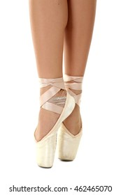 Dancer on pointe on a white background