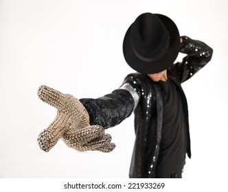 Dancer posing on white background - Modern performer shows a cool dance move