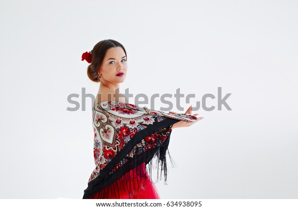 Dancer in a red dress. The girl in the image of Carmen