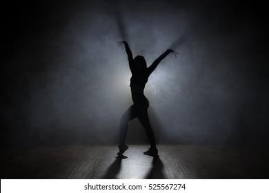 Dancer in the studio, silhouette.