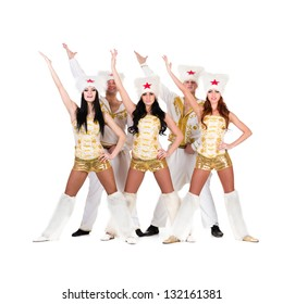Dancer team wearing a folk ukrainian cossack  costumes dancing.  Isolated on white background in full length.
