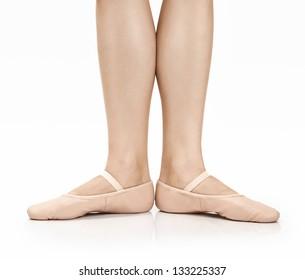 Dancer wearing Ballet Slippers on white